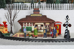 Winter Christmas Village Train Station Scene Royalty Free Stock Photos