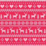 Winter, Christmas white seamless pixelated pattern with deer and hearts on red Stock Image