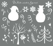 Winter Christmas white and silver figures of snowmen, trees, leaves, berries, frosty. stock illustration