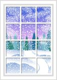 Winter Christmas window with a view of the snowy forest. Christmas card. Winter Christmas window with a view of the snowy forest. The window behind which Royalty Free Stock Photography