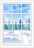 Winter Christmas window with a view of the snowy forest. Christmas card. Winter Christmas window with a view of the snowy forest. The window behind which Stock Photography