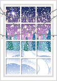 Winter Christmas window with a view of the snowy forest. Christmas card. Winter Christmas window with a view of the snowy forest. Window with Christmas garlands Royalty Free Stock Image