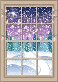 Winter Christmas window with a view of the snowy forest. Christmas card. Winter Christmas window with a view of the snowy forest. Window with Christmas garlands Royalty Free Stock Images