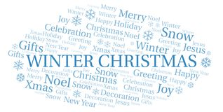 Winter Christmas word cloud. Wordcloud made with text only royalty free illustration
