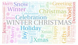 Winter Christmas word cloud. Wordcloud made with text only vector illustration