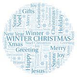 Winter Christmas word cloud. Wordcloud made with text only stock illustration
