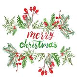 Watercolor Festive Christmas and New Years Winter greenery border with spruce branch, red holly berries