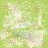Winter, Christmas, Xmas, red and white snowflakes on light green background Stock Image