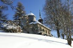Winter church. Calvary Church in Megeve, Haute Savoie, France Stock Image