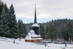 Winter church in Romania Stock Image