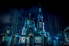 Winter Church. Russian church in rich, dark colors, winter shooting Stock Photos