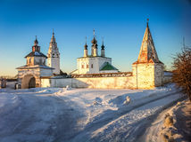 Winter Church in Suzdal. White walls of winter churches of Suzdal Royalty Free Stock Photography