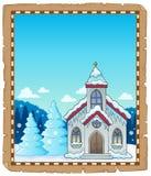 Winter church theme parchment 1 stock illustration