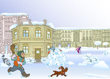 Winter city. Winter yard with janitor,dog,snowmen and skating young people Royalty Free Stock Photography