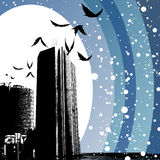 Winter city. Abstract winter city and birds background vector Royalty Free Stock Photo