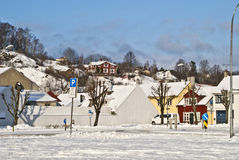 Winter in the city. It has snowed in Halden city and the entire landscape has changed Royalty Free Stock Photography