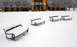 Winter in city. Benches in park covered with snow Royalty Free Stock Photo