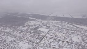 Winter city, aerial camera, the fog over the city stock video footage