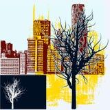 Winter City Background Stock Photo