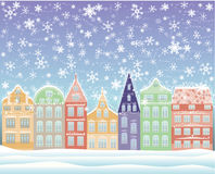 Winter city background. Vector illustration Royalty Free Stock Photo