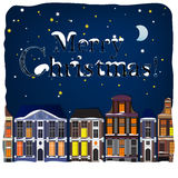 02 Winter City Background. Vector illustration of winter Holland town landscape Royalty Free Stock Images