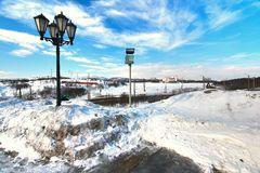 The winter in the city centre of Murmansk ,Russia Royalty Free Stock Images