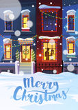 Winter city with Christmas decorated homes and couple in love. Winter city street with Christmas decorated homes and couple in love. Vector illustration. Can be Stock Photos