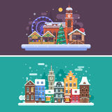 Winter City and Christmas Market. Christmas city backgrounds with winter town and christmas market. Winter city street and Christmas fair flat landscape banners Royalty Free Stock Photos