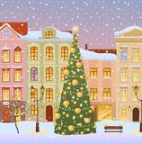 Winter city with christmas tree Stock Photo