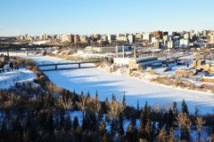 Winter city edmonton. Winter view of the north saskatchewan river and the city edmonton, alberta, canada Stock Photo