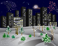 Winter city with a fireworks. City in the winter night with fireworks and snow-covered trees Stock Photography