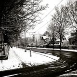 Winter in the city. Gdansk Brzezno Poland. Artistic look in black and white. Stock Photos