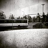 Winter in the city, Gdansk, Poland. Artistic look in black and white. Royalty Free Stock Image