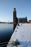 Winter by the City Hall in Stockholm Royalty Free Stock Photo
