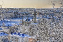 Winter city. City, winter, house royalty free stock image