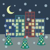 Winter city landscape with buildings, Christmas Stock Photography
