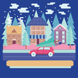 Winter city landscape with firs in flat modern style. Merry Christmas and winter holiday greeting card design with Winter city landscape with firs in flat Stock Image