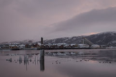 Winter city landscape, Norway Namsos Royalty Free Stock Photography
