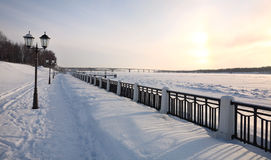 Winter city landscape. Quay. Royalty Free Stock Image