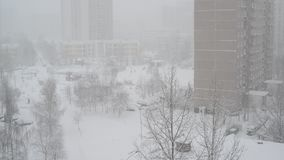 Winter city landscape during snowfall in Moscow, Russia. Winter city landscape during a snowfall in Moscow, Russia stock video
