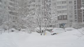 Winter city landscape during snowfall in Moscow, Russia. Winter city landscape during a snowfall in Moscow, Russia stock video footage