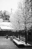 Winter city landscape - snowfall in the resort town of La Massana, Principality of Andorra, Europe. Winter city landscape - snowfall in the center of the resort Royalty Free Stock Photo