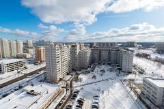 Winter city landscape in Zelenograd in Moscow, Russia Stock Photos