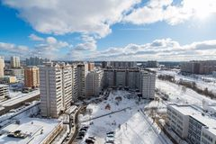 Winter city landscape in Zelenograd in Moscow, Russia Royalty Free Stock Photos