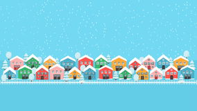Winter city lane wallpaper. Winter city lane with bright houses, white fence and tress, falling snow fwstive landscape. Modern background decoration pattern Stock Photos