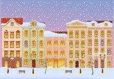 Winter city with lights stock illustratie