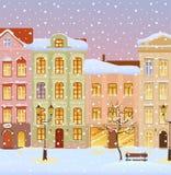 Winter city with lights royalty-vrije illustratie