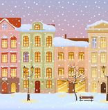 Winter city with lights. Snowy evening city with lights royalty free illustration