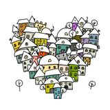 Winter city of love, heart shape sketch for your. Design. Vector illustration Stock Photo