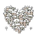 Winter city of love, heart shape sketch for your Royalty Free Stock Photography